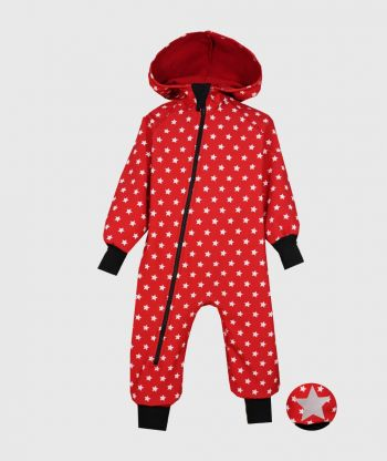 Waterproof Sofshell Overall Comfy Stars Red Jumpsuit