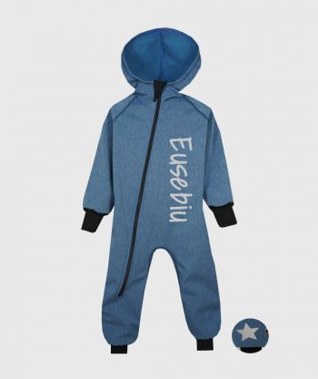 Waterproof Softshell Overall Comfy Faded Blue Melange Jumpsuit