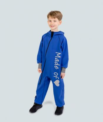Waterproof Softshell Overall Comfy Blue Striped Cuffs Jumpsuit