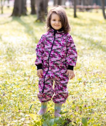 Waterproof Softshell Overall Comfy Camouflage Pink Jumpsuit