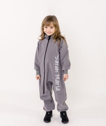 Waterproof Softshell Overall Comfy Grey Striped Cuffs Jumpsuit