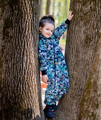 Waterproof Softshell Overall Comfy Flowers And Birds Dark Blue Jumpsuit