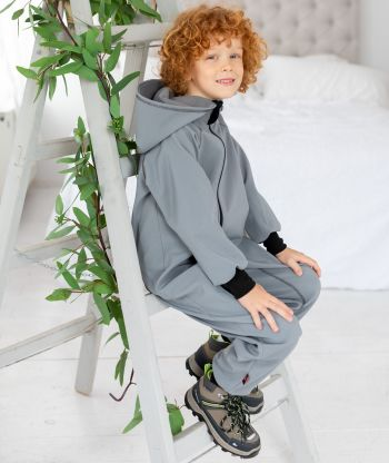Waterproof Softshell Overall Comfy Dusty Grey Jumpsuit