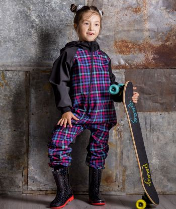 Waterproof Softshell Overall Multicolor Plaid Jumpsuit