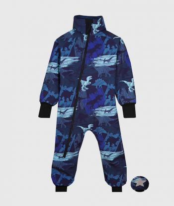 Waterproof Softshell Overall Comfy Shadows Dinos Blue Bodysuit