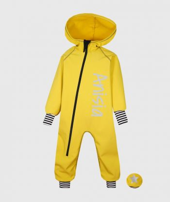 Waterproof Softshell Overall Comfy Mustard Yellow Striped Cuffs Jumpsuit