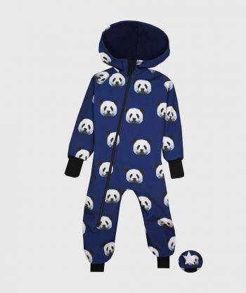 Waterproof Softshell Overall Comfy Pixel Panda Blue Jumpsuit