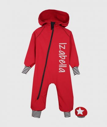 Waterproof Softshell Overall Comfy Poppy Red Striped Cuffs Jumpsuit