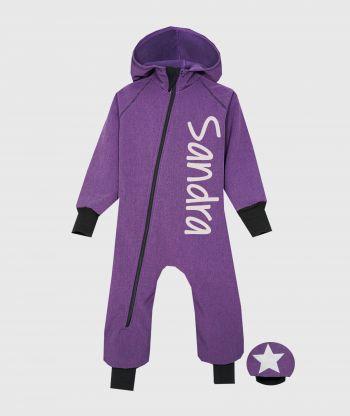 Waterproof Softshell Overall Comfy Purple Melange Jumpsuit
