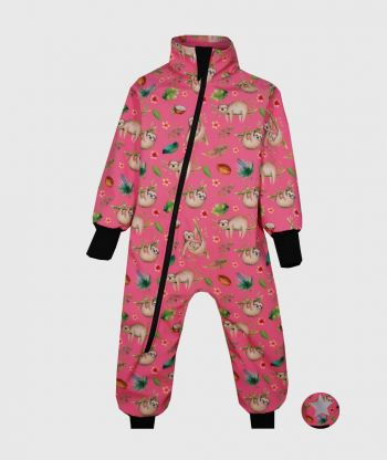 Waterproof Softshell Overall Comfy Sloths Pink Bodysuit