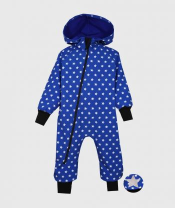 Waterproof Sofshell Overall Comfy Stars Blue Jumpsuit