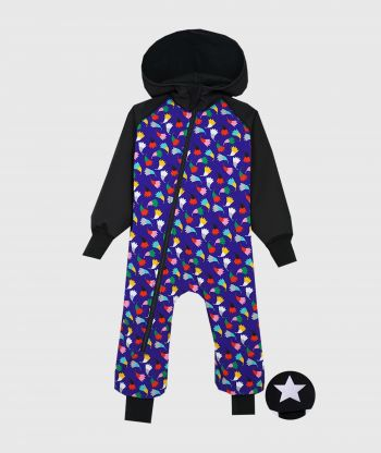 Waterproof Softshell Overall Comfy Black And Blue Tulips Jumpsuit