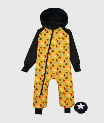 Waterproof Softshell Overall Comfy Black And Yellow Tulips Jumpsuit