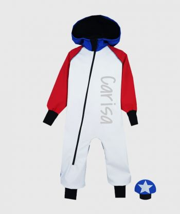 Waterproof Softshell Overall Comfy White/Red/Blue Jumpsuit